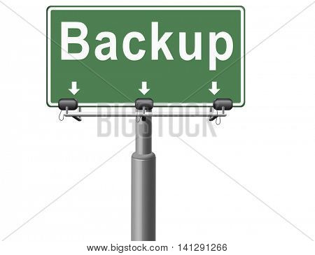 Backup data and software on copy in the cloud on a harddrive disk on a computer or server for files security. Data archiving and file transfer. 3D illustration