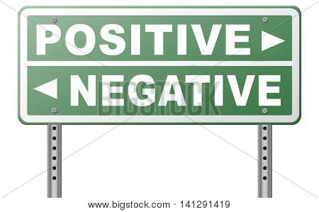 positive thinking or think negative positivity or negativity optimistic or pessimistic look at sunny side of life attitude road sign arrow 3D illustration poster