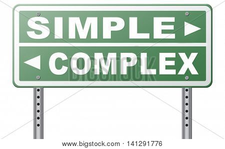 simple or complex keep it easy or simplify solve difficult problems with simplicity or complex solution no difficulty 3D illustration poster