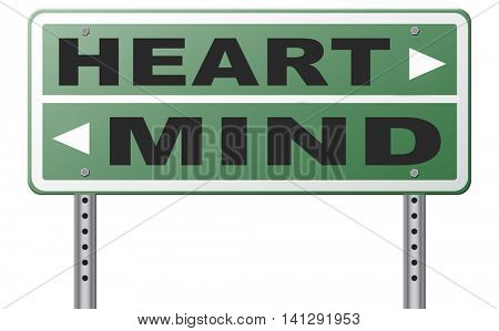 heart over mind follow your instinct and gut feeling or intuition insight 3D illustration poster
