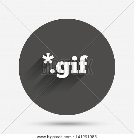 File GIF sign icon. Download image file symbol. Circle flat button with shadow. Vector