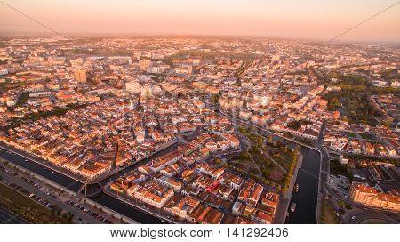 Aveiro at sunset pamoramic aerial view at evening