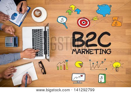 B2C MARKETING Business team hands at work with financial reports and a laptop poster