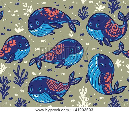 Cute background with cartoon blue whales. Sea life vector background with whales and little fish. Ornament for fabric marine style