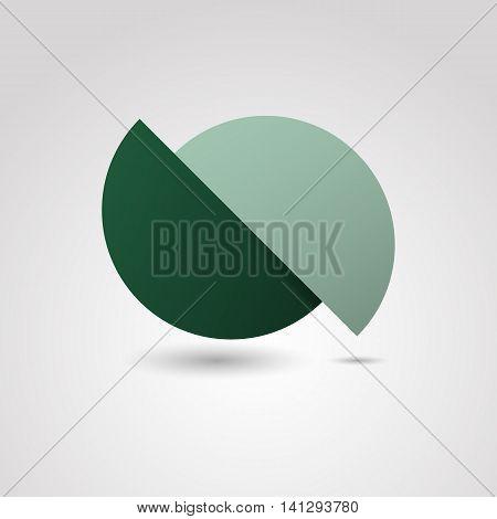 Green circle material design template, stock vector