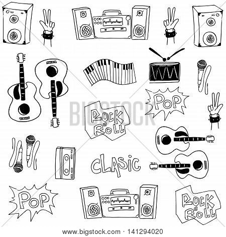 Music collection stock doodles vector art illustration