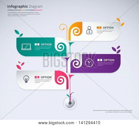 Tree Infographic Concept Design. Tree Label With 4 Leaf Choice. Vector Stock.