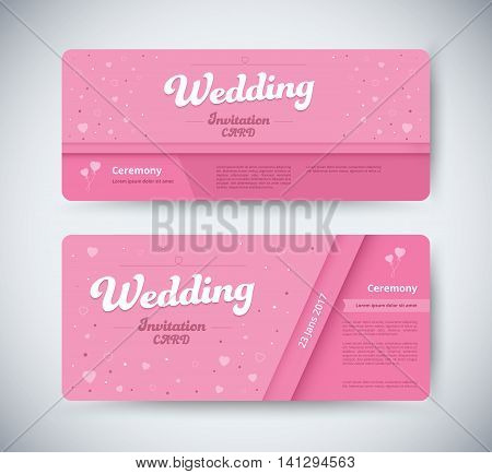 Wedding invitation card template with pink tone. wedding card. vector stock