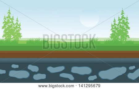 Illustration landscape fields and trees backgrounds stock