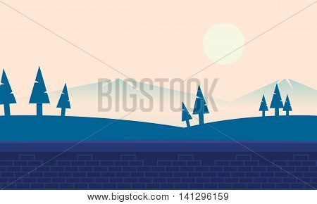 Landscape hill and mountain backgrounds illustration stock