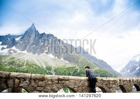 Traveller At Mer De Glace Mont Blanc