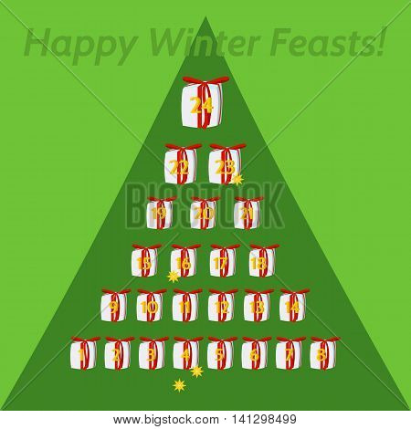 December calendar for advent and Christmas. Small gifts, with red ribbon, numbered days 1 to 24, arranged in pyramid.On green background outlined tree silhouette. Inscription Happy winter feasts.