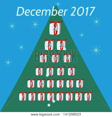 December calendar for advent and Christmas. Gifts, with red ribbon, numbered days 1 to 24, arranged in pyramid. On blue background green tree silhouette and white stars. Inscription December 2017.