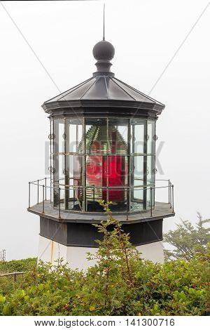 Cape Meares Lighthouse at the Oregon Coast Fresnel Lens Closeup