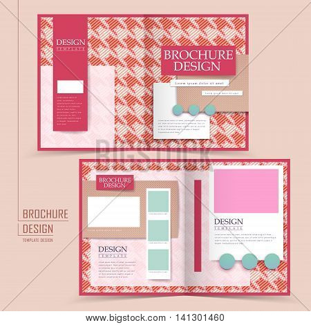 Pink Houndstooth Background Half-fold Brochure