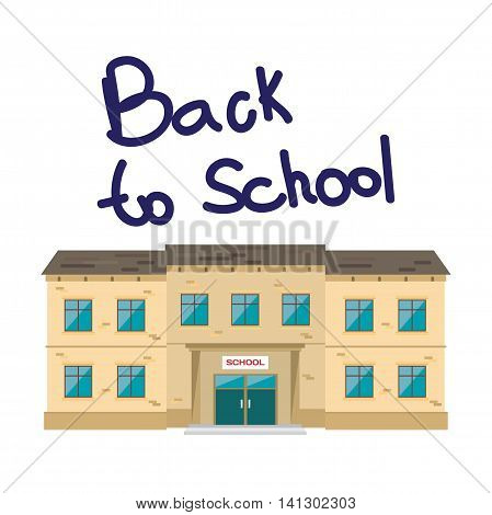School and education. Building on white isolated background. Flat cartoon style vector illustration.