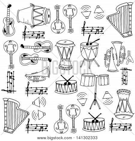 Element music pack doodles stock vector art