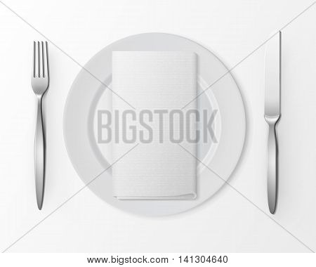 Vector White Empty Flat Round Plate with Silver Fork and Knife and White Folded Rectangular Napkin Top View Isolated on White Background. Table Setting