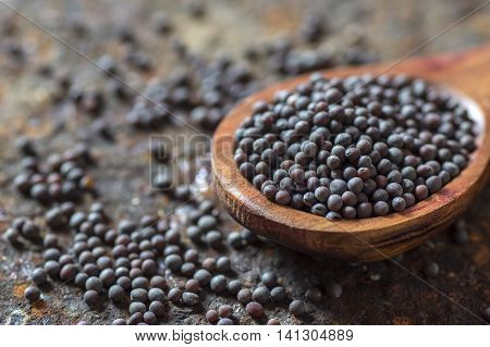 Brown Mustard Seeds in wooden spoon on texture background