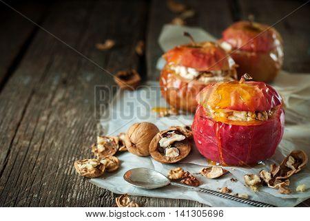 Baked Apples Stuffed Walnuts Honey Healthy Food