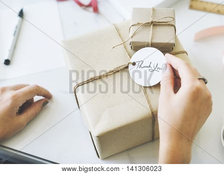 Thankyou Message Vintage Present Package Concept