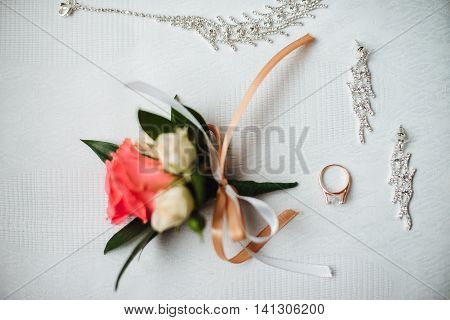 Nice Button Hole With Wedding Ring And Jewelry