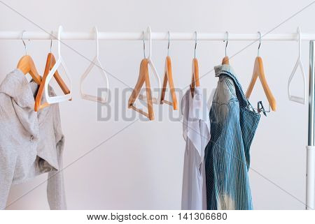 Pastel Female Cloth Open White Rail Wooden Hanger