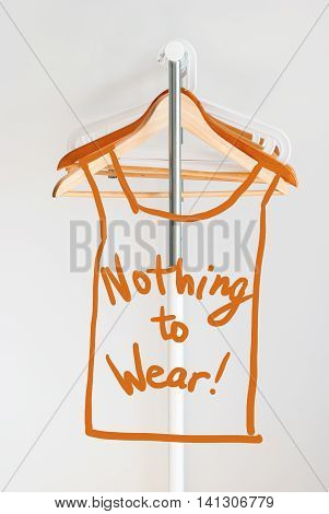 Nothing To Wear Design Concept Empty Wooden Coat