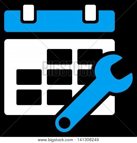 Timetable Preferences vector icon. Style is bicolor flat symbol, blue and white colors, rounded angles, black background.