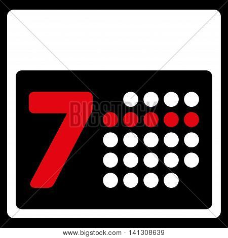 Syllabus Week vector icon. Style is bicolor flat symbol, red and white colors, rounded angles, black background.