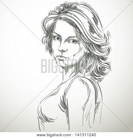 Hand-drawn vector illustration of beautiful confident woman.