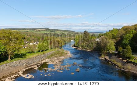 Beautiful Scottish river Tummel Pitlochry Scotland UK in Perth and Kinross popular tourist destination in summer