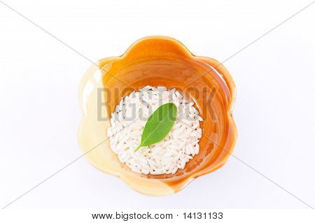 Mint And Rice In A Bowl