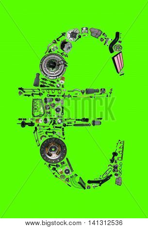 Euro money with auto parts for car. Spare parts for car for shop, aftermarket OEM. Euro icon. Many auto parts isolated in money euro on green screen, chroma key