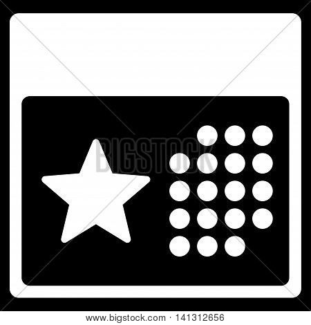 Holiday Syllabus vector icon. Style is flat symbol, white color, rounded angles, black background.