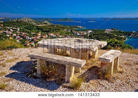 Archipelago of Croatia hill viewpoint Drage pakostanske Dalmatia Croatia