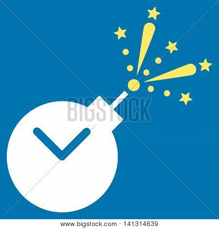 Time Fireworks Charge vector icon. Style is bicolor flat symbol, yellow and white colors, rounded angles, blue background.