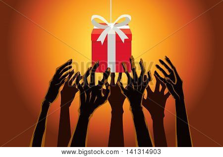 Many hands of zombie reaching out to grab a red gift box. Illustration about Halloween concept.