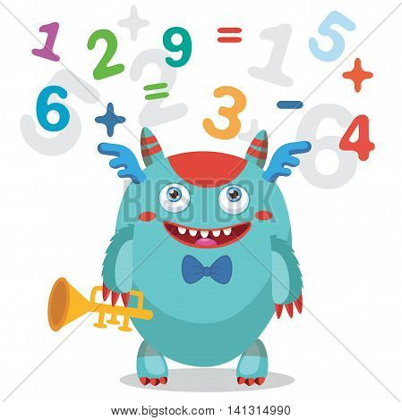 Musician Pipe Monster. Cute Monster Vector Illustration. Cartoon Monster Mascot. Back to School Theme. Gold Loud Pipe. Funny Monster Count Numbers On A White Background.
