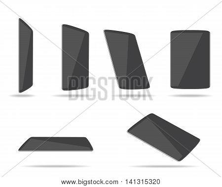 black tablet computers different foreshortening vector illustration