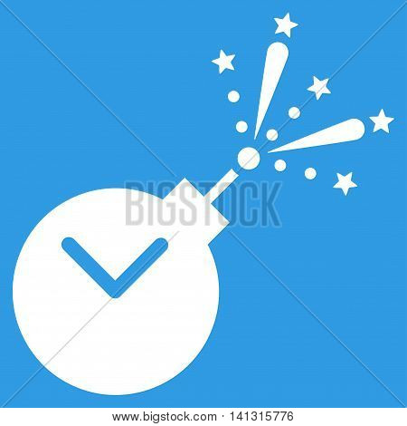 Time Fireworks Charge vector icon. Style is flat symbol, white color, rounded angles, blue background.