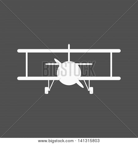 White biplane icon. The biplane is shown from the front. Isolated vector illustration.