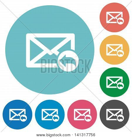 Flat mail reply icon set on round color background.
