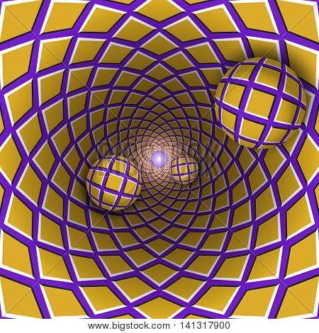 Visual illusion illustration. Three checkered balls are moving from checkered golden purple hole. Abstract fantasy in a surreal style.