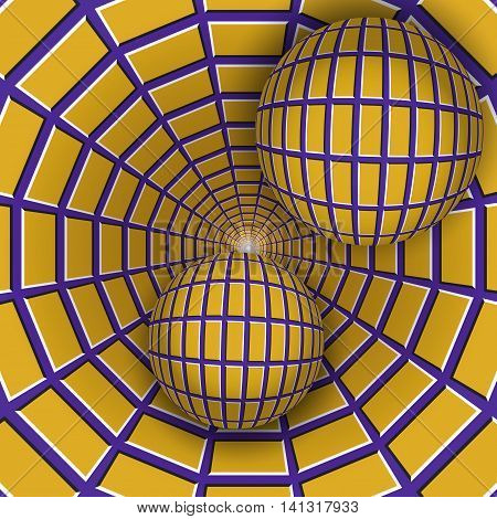 Visual illusion illustration. Two balls are moving on rotating purple funnel with yellow quadrangles. Abstract fantasy in a surreal style.