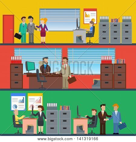 Business people working in the office and corporate building conference room reception. Vector illustration.