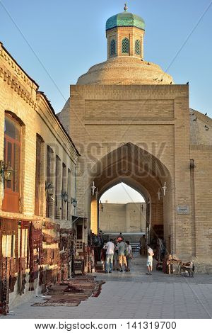 Bukhara Uzbekistan - August 05 2015: Old souks to the majestic streets of Bukhara in Uzbekistan.