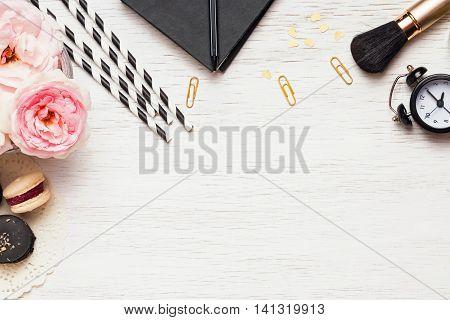 Stylish Desktop With Cute Femenine Essentials