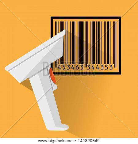 hand held barcode scanner with long shadow and black bar code. vector illustration in flat design on orange background