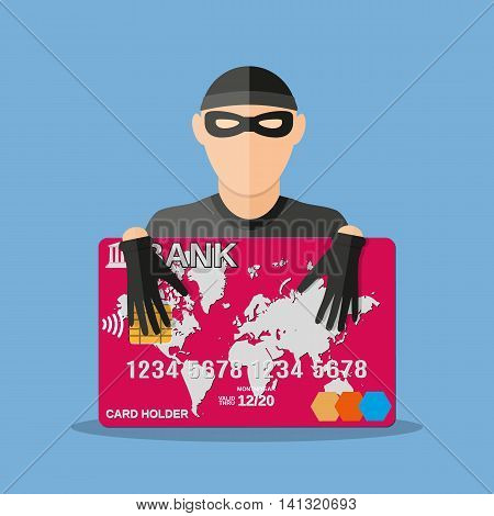 A thief with a credit card. anti fraud, internet security, safety payments, vector illustration in flat style on blue background